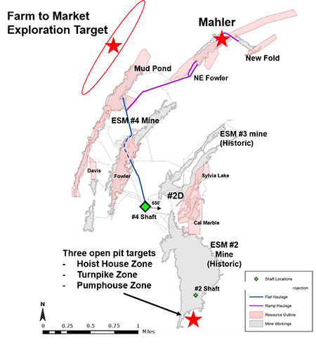 Plan View of ESM Mineralized Zones