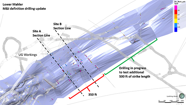 Plan View of Mahler Definition Drill Sites A and B